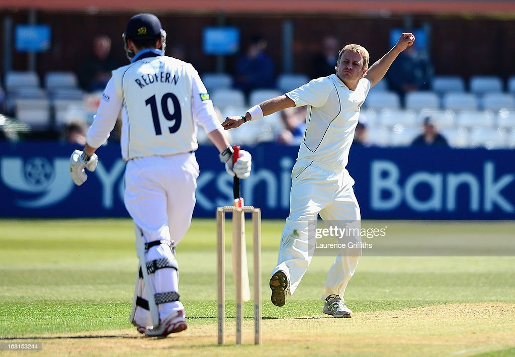 Neil Wagner of New Zealand celebrates the wicket of Dan Redfern of Derbyshire during the Tour match between Derbyshire and New Zealand at The County Ground on May 6, 2013 in Derby, England.
