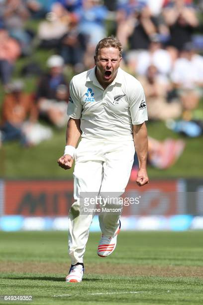 Neil Wagner of New Zealand celebrates the wicket of Hashim Amla of South Africa during day one of the First Test match between New Zealand and South...