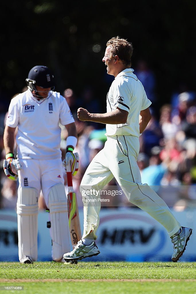 Neil Wagner of New Zealand celebrates the wicket of Ian Bell of England during day two of the First Test match between New Zealand and England at University Oval on March 7, 2013 in Dunedin, New Zealand.