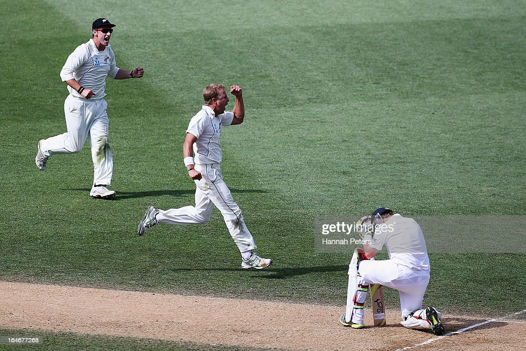 Neil Wagner of New Zealand celebrates the wicket of <a gi-track='captionPersonalityLinkClicked' href=/galleries/search?phrase=Ian+Bell&family=editorial&specificpeople=206128 ng-click='$event.stopPropagation()'>Ian Bell</a> of England during day five of the Third Test match between New Zealand and England at Eden Park on March 26, 2013 in Auckland, New Zealand.