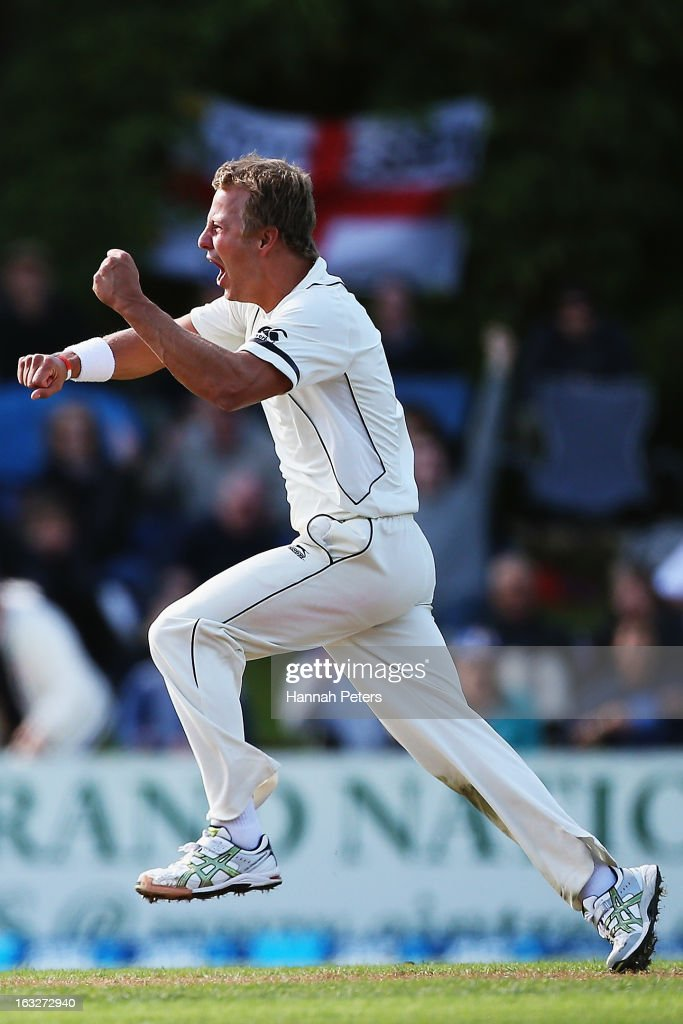 Neil Wagner of New Zealand celebrates the wicket of Kevin Pietersen of England during day two of the First Test match between New Zealand and England at University Oval on March 7, 2013 in Dunedin, New Zealand.