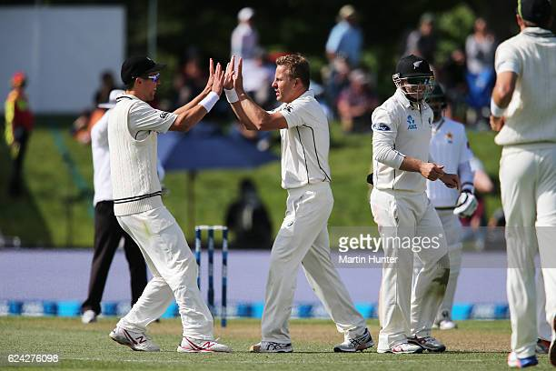 Neil Wagner of New Zealand celebrates the wicket of Younis Khan of Pakistan during day three of the First Test between New Zealand and Pakistan at...
