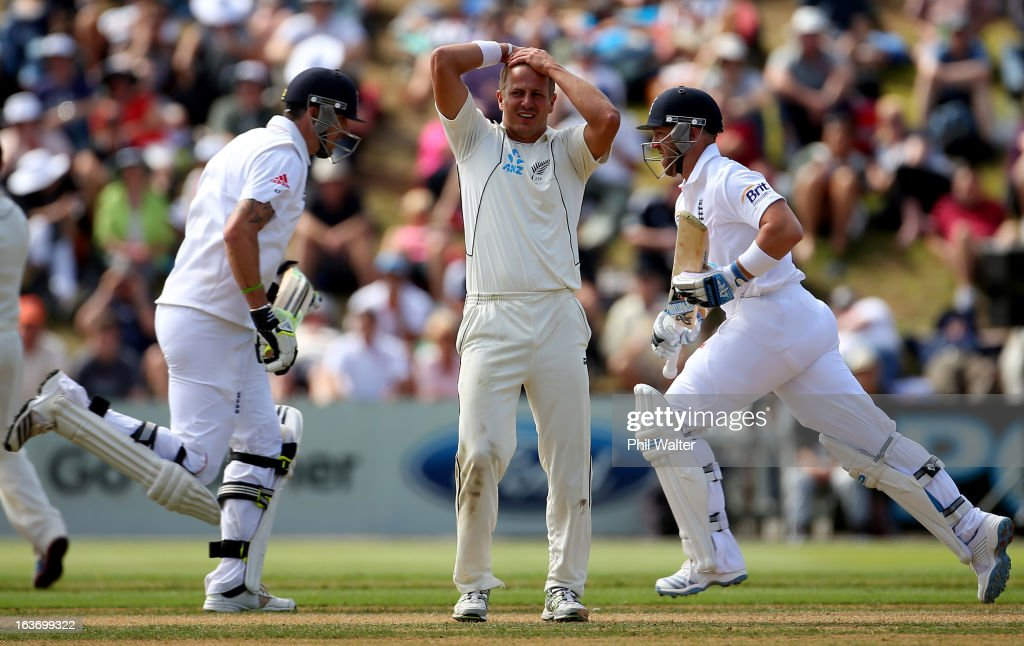 Neil Wagner of New Zealand holds his hands to his head as <a gi-track='captionPersonalityLinkClicked' href=/galleries/search?phrase=Kevin+Pietersen+-+Cricket+Player&family=editorial&specificpeople=202001 ng-click='$event.stopPropagation()'>Kevin Pietersen</a> (L) of England and <a gi-track='captionPersonalityLinkClicked' href=/galleries/search?phrase=Matt+Prior+-+Cricket+Player&family=editorial&specificpeople=13652111 ng-click='$event.stopPropagation()'>Matt Prior</a> (R) makes runs during day two of the second Test match between New Zealand and England at Basin Reserve on March 15, 2013 in Wellington, New Zealand.