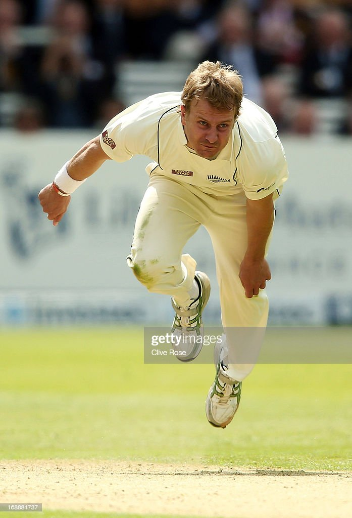Neil Wagner of New Zealand in action during day one of 1st Investec Test match between England and New Zealand at Lord's Cricket Ground on May 16, 2013 in London, England.