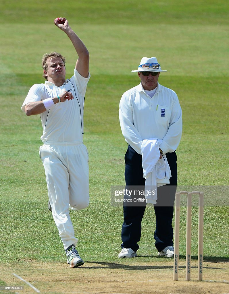 Neil Wagner of New Zealand in action during the Tour match between Derbyshire and New Zealand at The County Ground on May 6, 2013 in Derby, England.