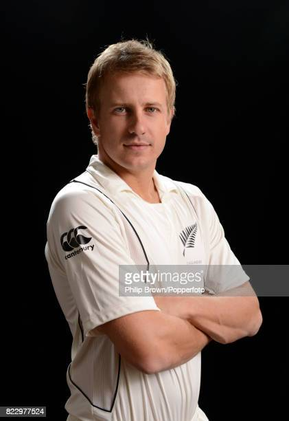 Neil Wagner of New Zealand poses for the camera during the New Zealand Cricket Headshots photo session before the Test series against England at...