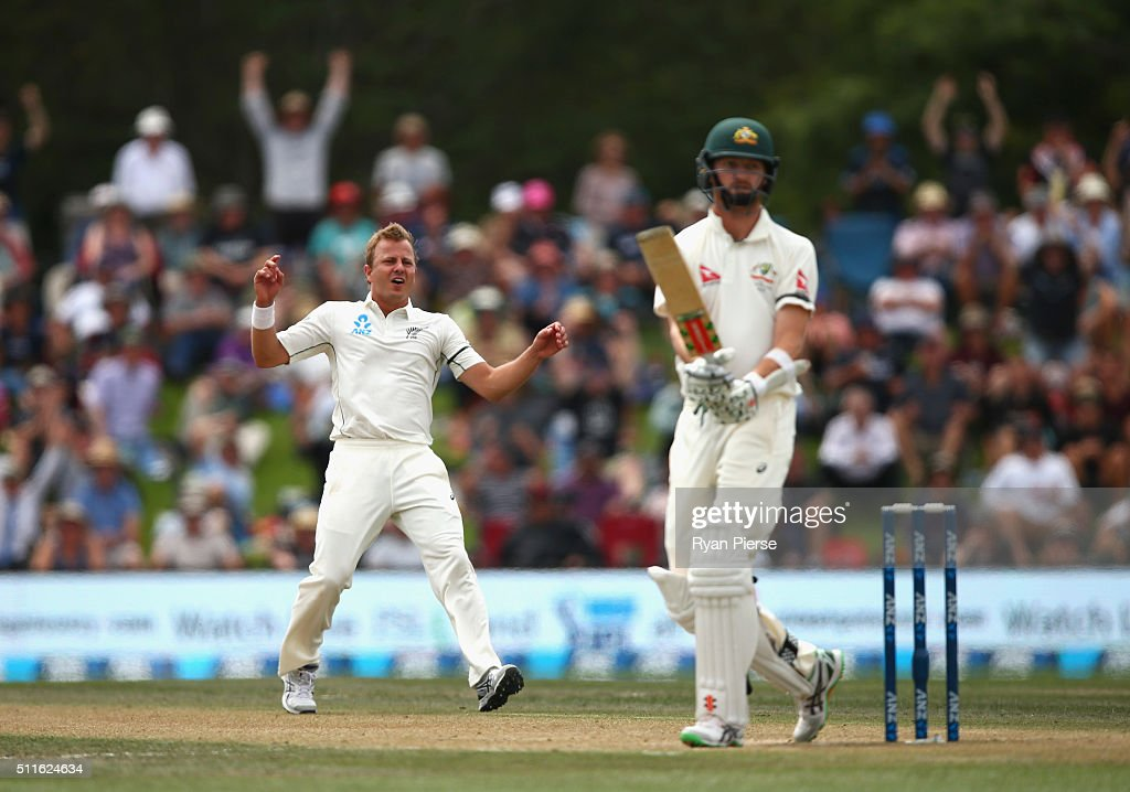 <a gi-track='captionPersonalityLinkClicked' href=/galleries/search?phrase=Neil+Wagner+-+Cricket+Player&family=editorial&specificpeople=12902899 ng-click='$event.stopPropagation()'>Neil Wagner</a> of New Zealand reacts while bowling to <a gi-track='captionPersonalityLinkClicked' href=/galleries/search?phrase=Jackson+Bird&family=editorial&specificpeople=8665256 ng-click='$event.stopPropagation()'>Jackson Bird</a> of Australia during day three of the Test match between New Zealand and Australia at Hagley Oval on February 22, 2016 in Christchurch, New Zealand.