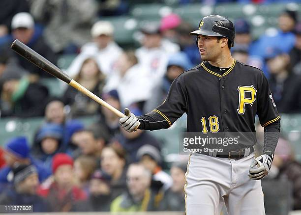 Neil Walker of the Pittsburgh Pirates gets ready for a pitch while playing the Chicago Cubs during opening day at Wrigley Field on April 1 2011 in...