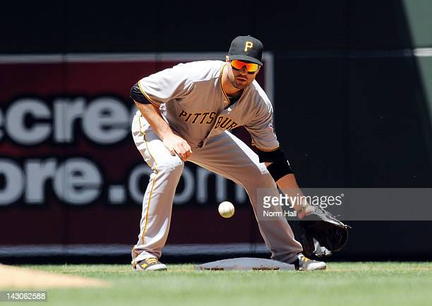Neil Walker of the Pittsburgh Pirates gets the throw from the catcher against the Arizona Diamondbacks at Chase Field on April 18 2012 in Phoenix...