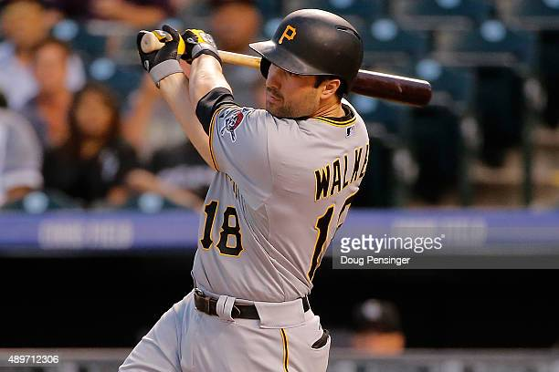 Neil Walker of the Pittsburgh Pirates hits a two RBI single off of starting pitcher Christian Bergman of the Colorado Rockies to take a 20 lead in...