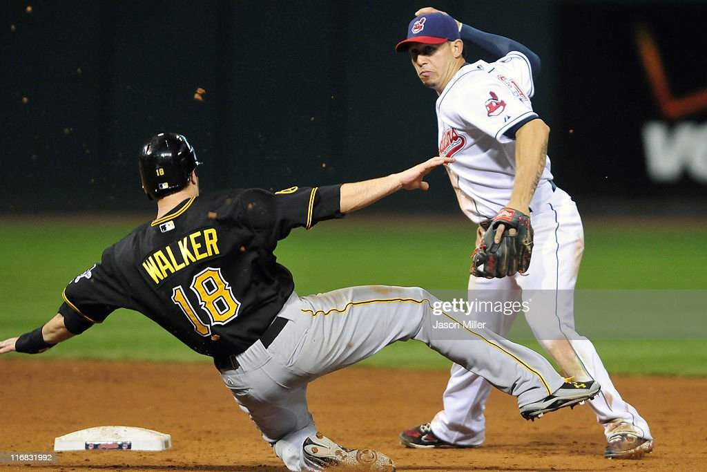 Neil Walker #18 of the Pittsburgh Pirates is out at second as <a gi-track='captionPersonalityLinkClicked' href=/galleries/search?phrase=Asdrubal+Cabrera&family=editorial&specificpeople=834042 ng-click='$event.stopPropagation()'>Asdrubal Cabrera</a> #13 of the Cleveland Indians throws to first for the game ending double play during the ninth inning at Progressive Field on June 17, 2011 in Cleveland, Ohio. The Indians defeated the Pirates 5-1.