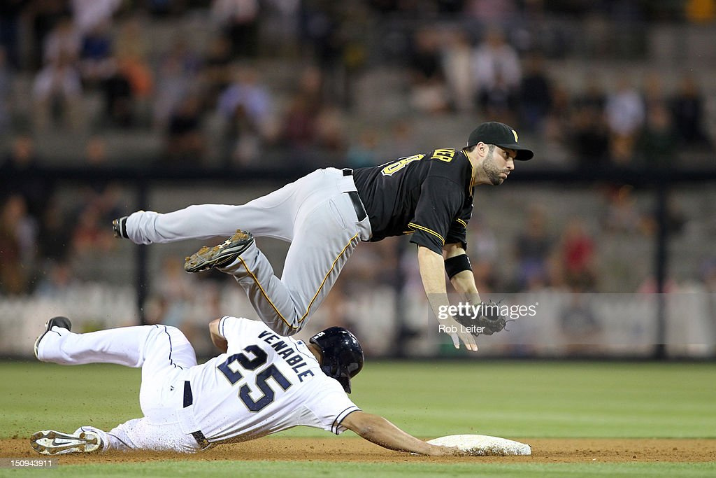 Neil Walker #18 of the Pittsburgh Pirates makes a throw over <a gi-track='captionPersonalityLinkClicked' href=/galleries/search?phrase=Will+Venable&family=editorial&specificpeople=3068470 ng-click='$event.stopPropagation()'>Will Venable</a> #25 of the San Diego Padres at second base during the game at Petco Park on August 21, 2012 in San Diego, California. The Padres defeated the Pirates 7-5.
