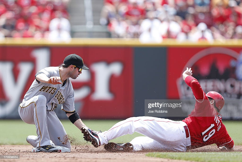 Neil Walker #18 of the Pittsburgh Pirates tags out <a gi-track='captionPersonalityLinkClicked' href=/galleries/search?phrase=Joey+Votto&family=editorial&specificpeople=759319 ng-click='$event.stopPropagation()'>Joey Votto</a> #19 of the Cincinnati Reds on a play at second base during the game at Great American Ball Park on June 20, 2013 in Cincinnati, Ohio.