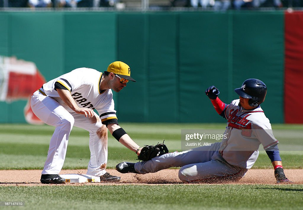 Neil Walker #18 of the Pittsburgh Pirates tags out <a gi-track='captionPersonalityLinkClicked' href=/galleries/search?phrase=Ramiro+Pena&family=editorial&specificpeople=809222 ng-click='$event.stopPropagation()'>Ramiro Pena</a> #14 of the Atlanta Braves stealing during the game on April 21, 2013 at PNC Park in Pittsburgh, Pennsylvania. The Pirates defeated the Braves 4-2.