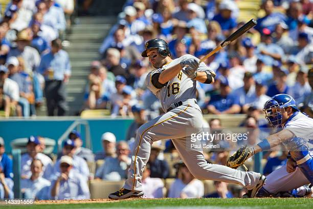 Neil Walker of the Pittsburgh Pirates takes a swing at a pitch during the game against the Los Angeles Dodgers on Tuesday April 10 2012 at Dodger...