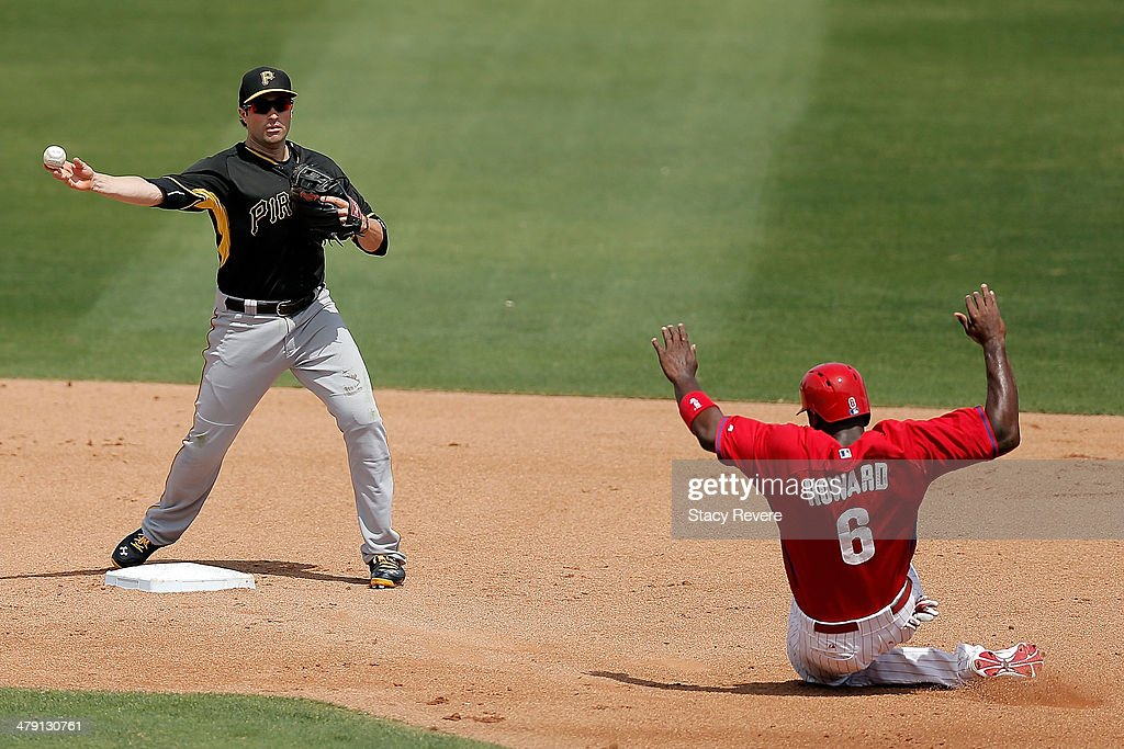 Neil Walker #18 of the Pittsburgh Pirates throws over <a gi-track='captionPersonalityLinkClicked' href=/galleries/search?phrase=Ryan+Howard&family=editorial&specificpeople=551402 ng-click='$event.stopPropagation()'>Ryan Howard</a> #6 of the Philadelphia Phillies in the second inning of a game at Bright House Field on March 16, 2014 in Clearwater, Florida.