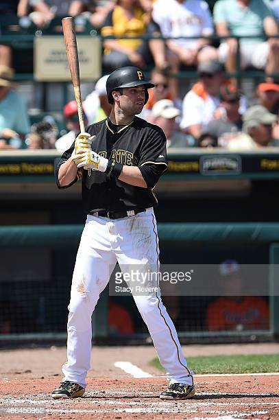 Neil Walker of the Pittsburgh Pirates waits for a pitch during a spring training game against the Baltimore Orioles at McKechnie Field on March 15...