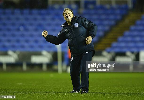 Neil Warnock caretaker manager of QPR celebrates victory after the Sky Bet Championship match between Reading and Queens Park Rangers at Madejski...