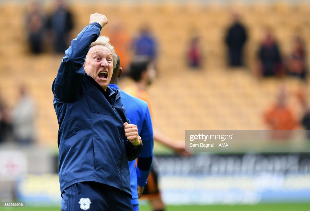 Neil Warnock manager / head coach of Cardiff City celebrates at full time during the Sky Bet Championship match between Wolverhampton and Cardiff City at Molineux on August 19, 2017 in Wolverhampton, England.