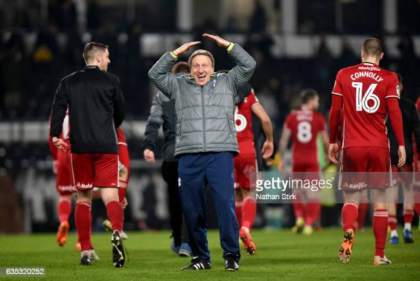 Neil Warnock manager of Cardiff City celebrates towards the Cardiff fans after the Sky Bet Championship match between Derby County and Cardiff City...