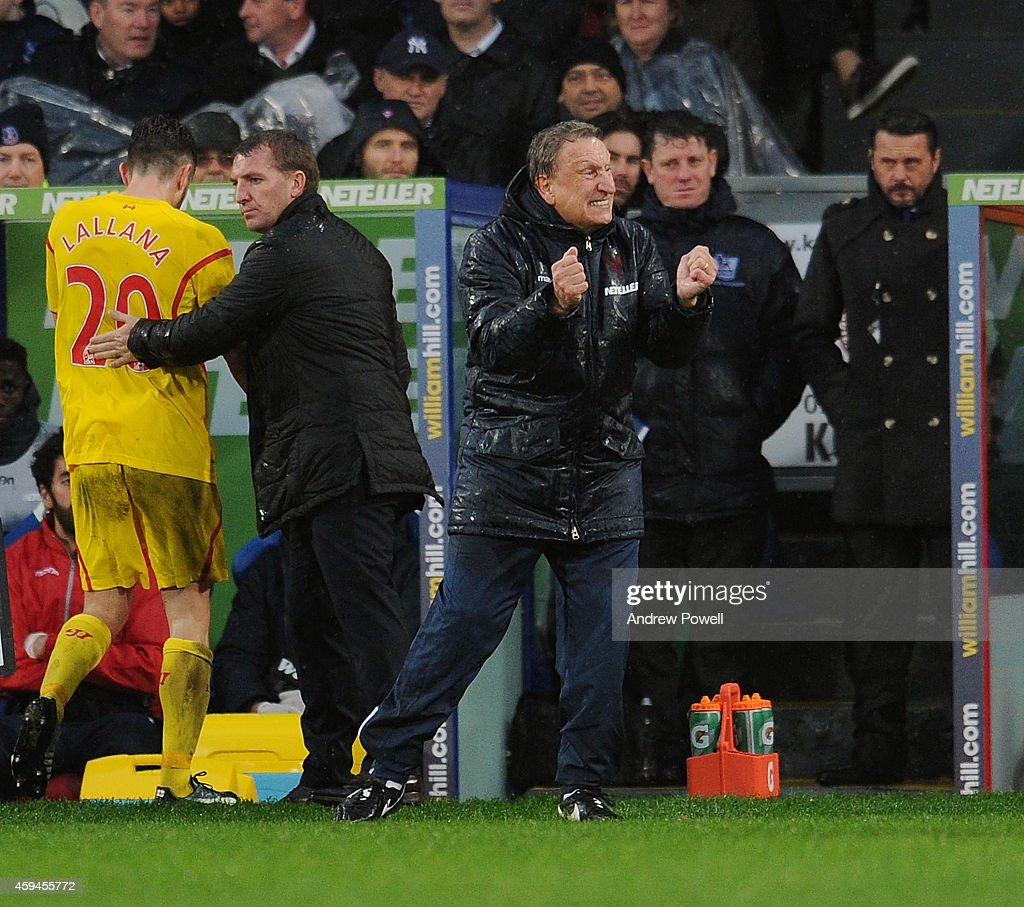 <a gi-track='captionPersonalityLinkClicked' href=/galleries/search?phrase=Neil+Warnock&family=editorial&specificpeople=644786 ng-click='$event.stopPropagation()'>Neil Warnock</a> manager of Crystal Palace reacts during the Barclays Premier League match between Crystal Palace and Liverpool at Selhurst Park on November 23, 2014 in London, England.