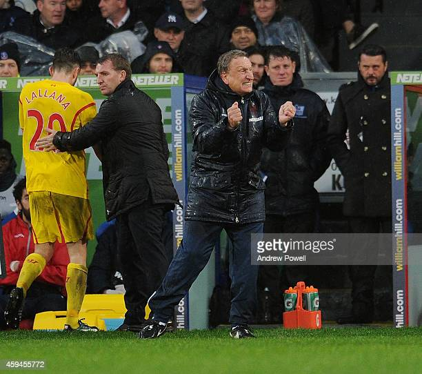 Neil Warnock manager of Crystal Palace reacts during the Barclays Premier League match between Crystal Palace and Liverpool at Selhurst Park on...