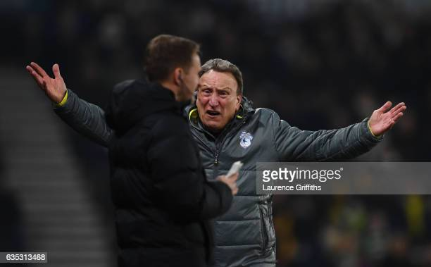 Neil Warnock of Cardiff City ardues with the Fourth Official during the Sky Bet Championship match between Derby County and Cardiff City at iPro...