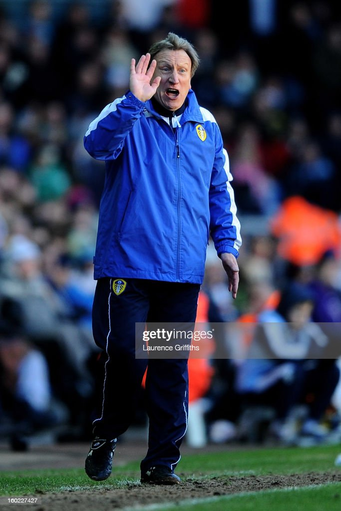 Neil Warnock the Leeds manager directs his players during the FA Cup with Budweiser Fourth Round match between Leeds United and Tottenham Hotspur at Elland Road on January 27, 2013 in Leeds, England.