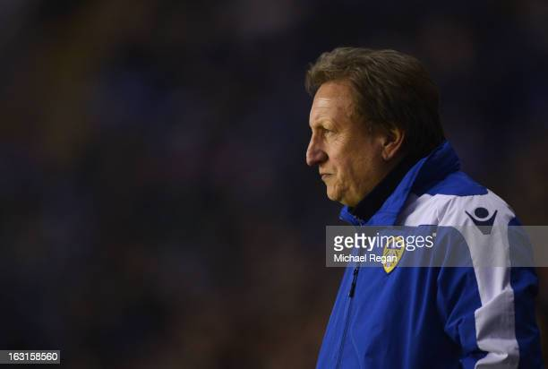 Neil Warnock the Leeds manager looks on from the sidelines during the npower Championship match between Leicester City and Leeds United at The King...