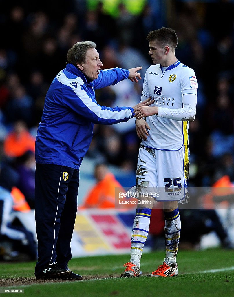 Neil Warnock the Leeds manager speaks with Sam Byram of Leeds during the FA Cup with Budweiser Fourth Round match between Leeds United and Tottenham Hotspur at Elland Road on January 27, 2013 in Leeds, England.