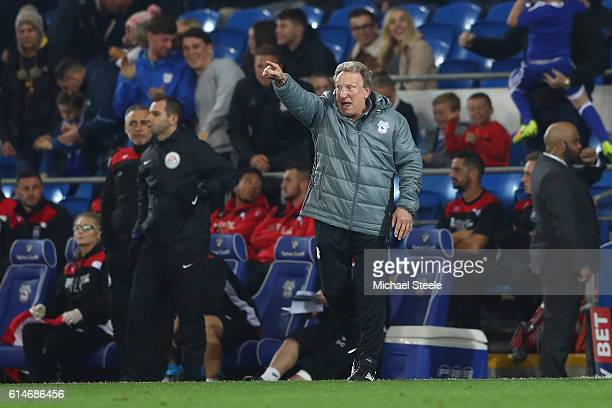 Neil Warnock the manager of Cardiff shouts instructions during the Sky Bet Championship match between Cardiff City and Bristol City at Cardiff City...