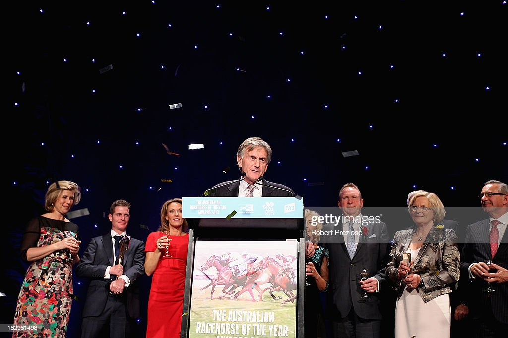 Neil Werrett on behalf of connections receives the award for Australian Racehorse of the year with racehorse Black Caviar during the Australian Racehorse of the Year Awards at Peninsula on October 3, 2013 in Melbourne, Australia.