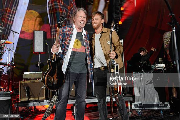 Neil Young and Dan Auerbach perform onstage at the The Global Citizen Festival in Central Park to end extreme poverty Show at Central Park on...