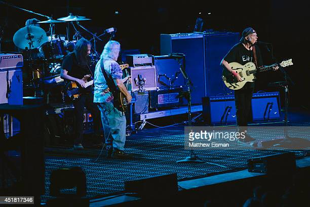 Neil Young Crazy Horse performs live on stage for ATP Iceland Festival 2014 at Laugardalshollin on July 7 2014 in Reykjavik Iceland