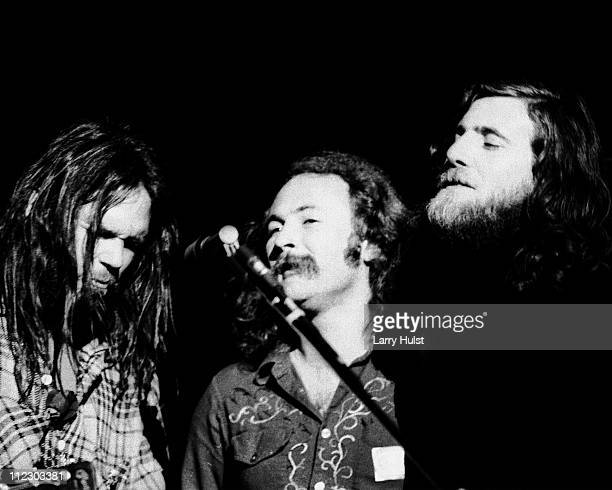 Neil Young David Crosby and Graham Nash at the Community Center in Berkeley California on March 11 1972