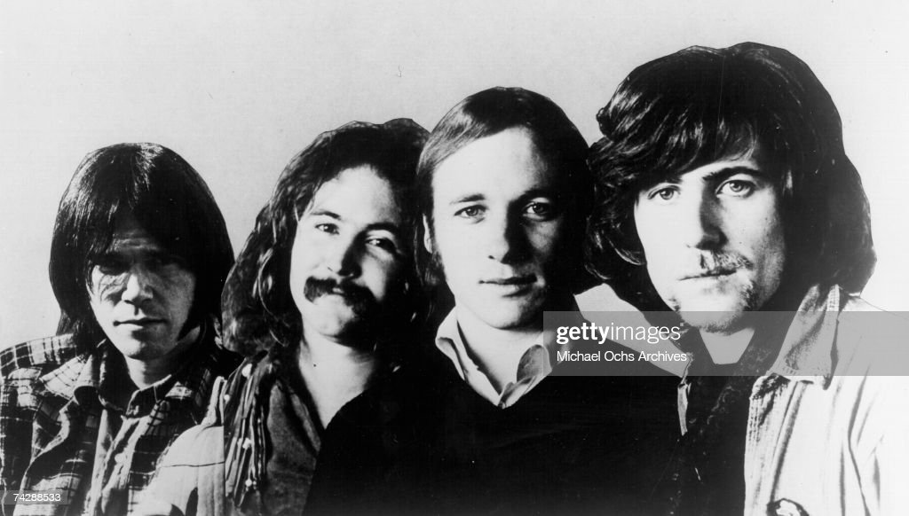 Neil Young David Crosby Stephen Stills and Graham Nash of Crosby Stills Nash and Young pose for a composite publicity photo circa 1970 The Neil Young...