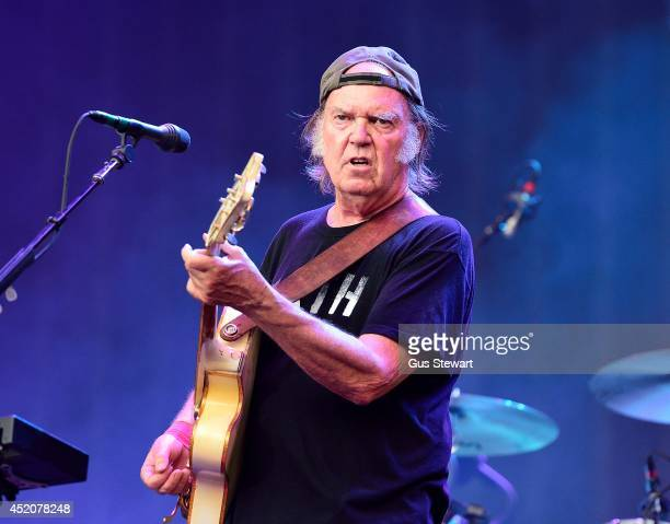 Neil Young of Neil Young and Crazy Horse performs on stage at British Summer Time Festival at Hyde Park on July 12 2014 in London United Kingdom