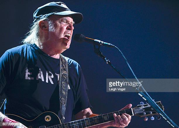 Neil Young performs at 2016 Farm Aid on September 17 2016 in Bristow Virginia