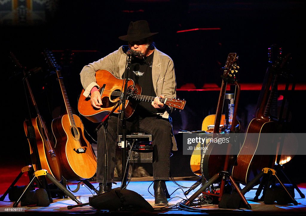 Neil Young performs at the Dolby Theater on April 1, 2014 in Hollywood, California.