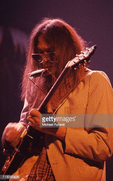 Neil Young performs on stage at the Rainbow Theatre London 5th November 1973