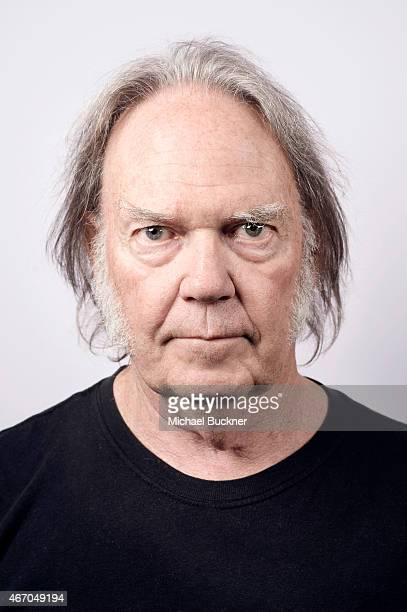 Neil Young poses for a portrait for the film 'Human Highway' during 2015 SXSW Music Film Interactive Festival at the Paramount Theatre on March 15...