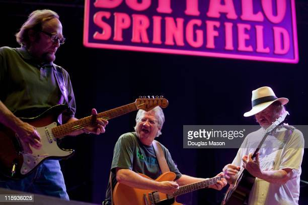 Neil Young Stephen Stills and Richie Furay of Buffalo Springfield perform during the 2011 Bonnaroo Music And Arts Festival on June 11 2011 in...