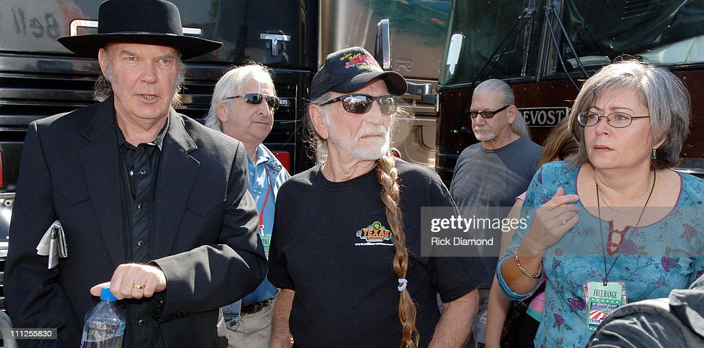 Neil Young, Willie Nelson and Glenda Yoder during FARM AID 2005 Presented by SILK Soymilk at Tweeter Center in Tinley Park, Illinois, United States.