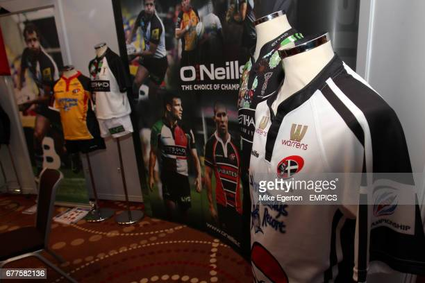 O'Neills rugby shirt stand on display on Day One of the Rugby Expo 2011