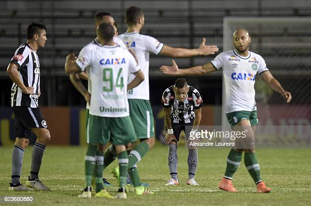 Neilton  of Botafogo reacts after the defeat in the match between Botafogo and Chapecoense as part of Brasileirao Series A 2016 at Luso Brasileiro...