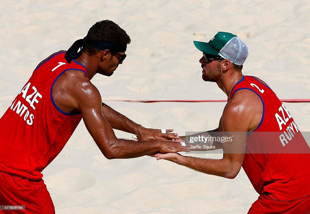 Neilton Santos and Iaroslav Rudykh of Azerbaijan celebrate after a point in the Beach Volleyball quarterfinals during day eight of the Baku 2015...