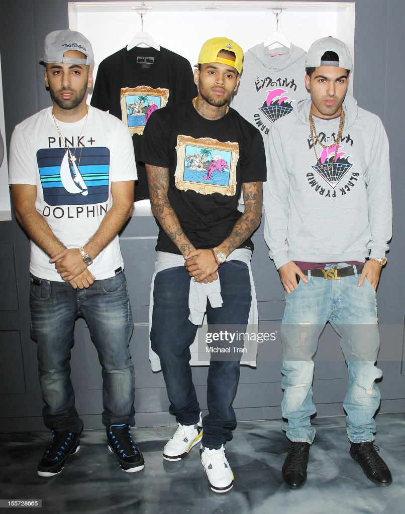 Neima Khaila, Chris Brown and Cena Barhaghi attend special in-store meet and greet held at Pink+Dolphin on November 7, 2012 in Los Angeles, California.