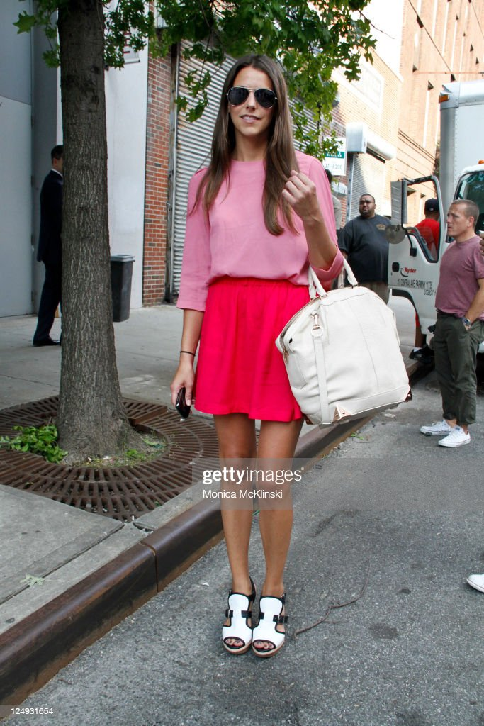 Neiman Marcus Direct Buyer, Stacy Adams wearing a Vintage dress, Marni shoes and Alexander Wang bag departs the Theyskens' Theory Showing at Center 548 in Manhattan during Spring 2012 Fashion Week on September 13, 2011 in New York City.