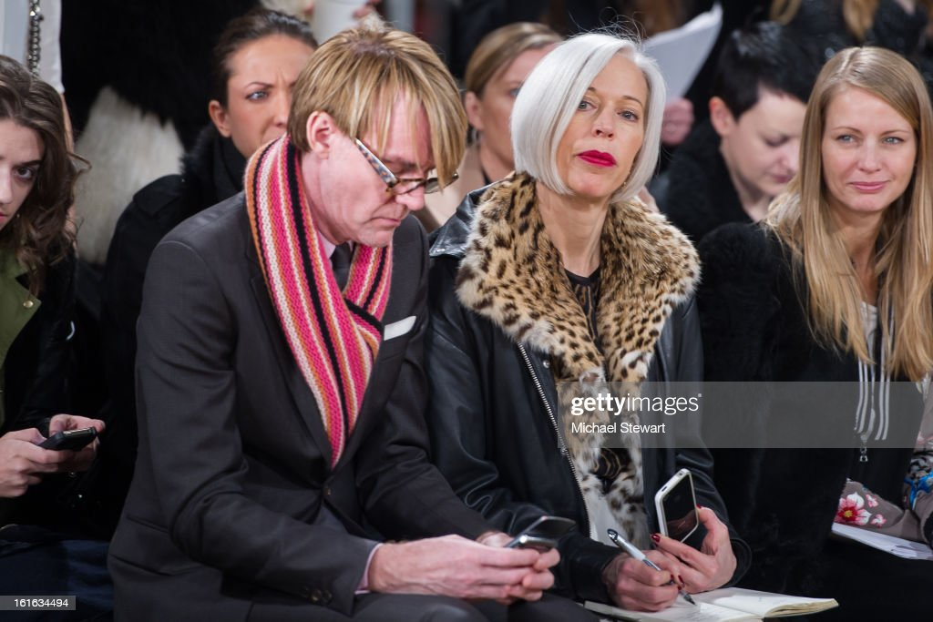 Neiman Marcus Fashion Director Ken Downing (L) and Senior Vice President, Fashion Office and Store Presentation of Bergdorf Goodman Linda Fargo attend Philosophy By Natalie Ratabesi during fall 2013 Mercedes-Benz Fashion Week on February 13, 2013 in New York City.