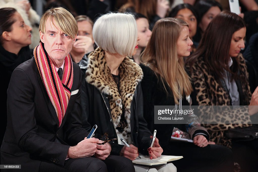 Neiman Marcus fashion director Ken Downing (L) and Senior Vice President, Fashion Office and Store Presentation of Bergdorf Goodman Linda Fargo (2L) attend the Philosophy By Natalie Ratabesi fall 2013 fashion show during Mercedes-Benz Fashion Week at Roseland Ballroom on February 13, 2013 in New York City.